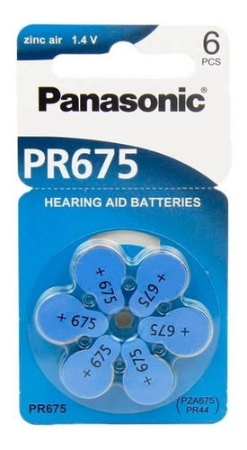 bateria auditiva pr675h - panasonic (cartela c/ 6 unid.)