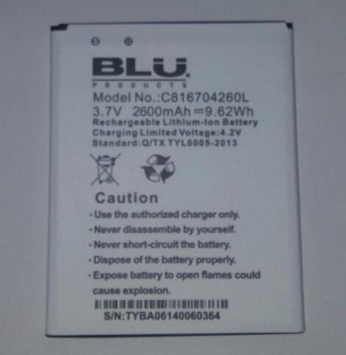 bateria blu modelo c816704260l 3.8v 2200 mah alta calidad
