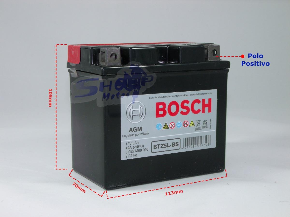 bateria bosch de 5 amperes p moto titan 150 mix ano 2009