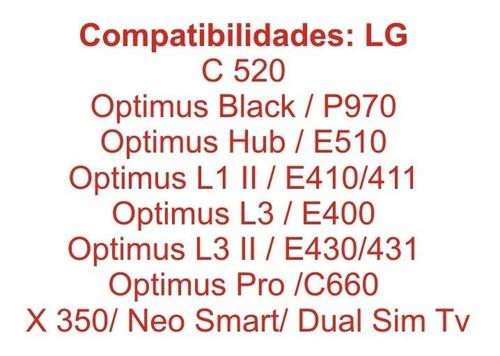 bateria cameron sino para lg optimus net pro c660 l1 ii e410 411 l3 e400 l5 slider sol marquee black hub ls855 e730 e510