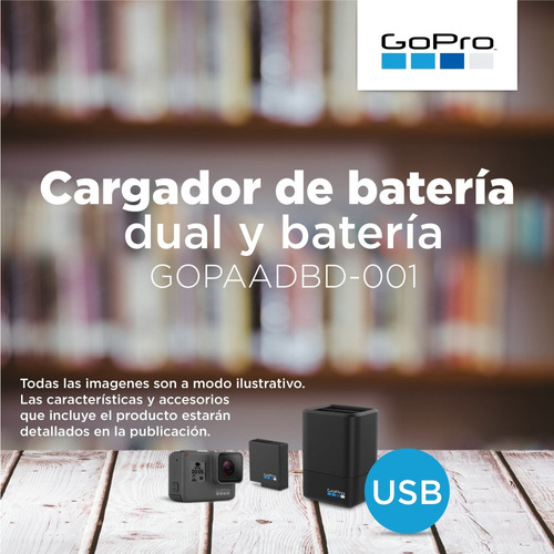 bateria + cargador gopro dual go pro hero 6 / 5 black pce