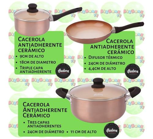 batería ceramica 5 piezas hudson cobre degradado sarten