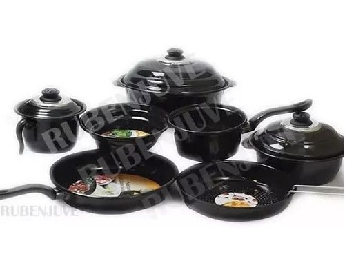 bateria cocina 10 piezas ollas sarten italiana exahome