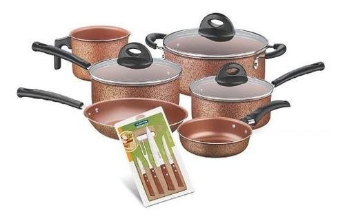 bateria cocina lisboa 9 piezas cobre y cuchillos tramontina