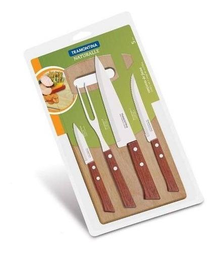 bateria cocina lisboa gris 9 piezas y cuchillos tramontina