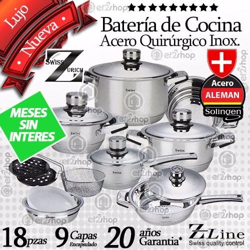 Bater a cocina lujo 18pzs acero quir rgico inoxidable chef for Pilas de cocina