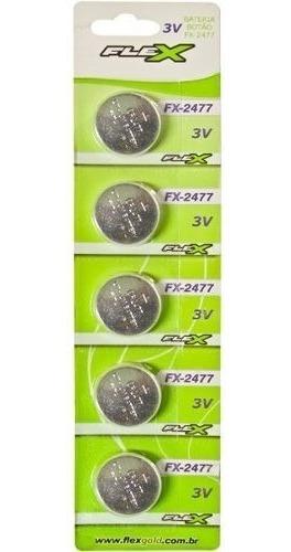 bateria cr2477 - fx-2477 3volts botão cartela 5pçs flexgold
