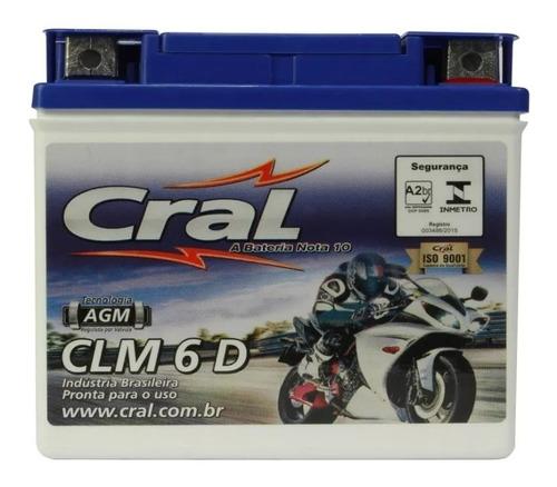 bateria cral moto 6 ah fan cg titan 125 150 es esd mix fuel