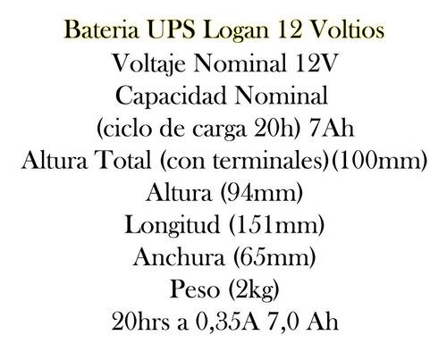 bateria de 12v 7ah ups logan alarma y cercos eléctricos bagc