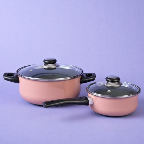 batería de cocina acero vitrificado 4 pzas color rosa cinsa