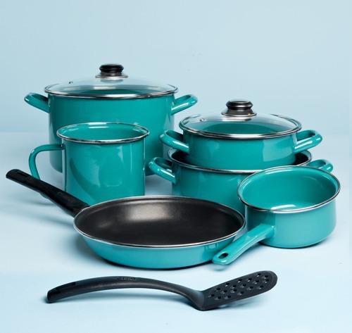 batería de cocina terranova 9 piezas cinsa color verde