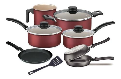 bateria de cocina tramontina set 7 piezas ollas rojas + sarten doble + panquequera