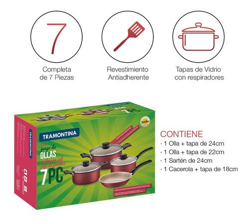 batería de cocina tramontina turim 7 piezas oferta loi