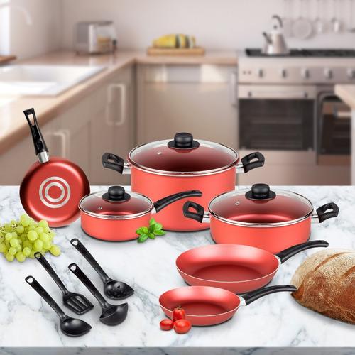 batería de cocina vasconia 13 piezas rojo antiadherente 360°