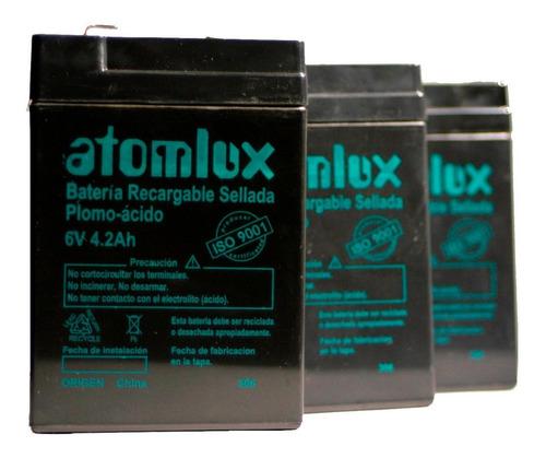 batería de gel 6v atomlux recargable lámpara led iso9001