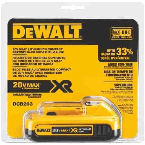 bateria de ion de litio 2.0ah 20v max dewalt dcb203