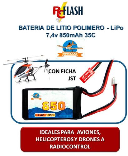 batería de litio polímero lipo 7.4v 850mah 35c helis drones
