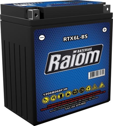 bateria de moto raiom ytx6l-bs 5ah 12v selada (rtx6l-bs)