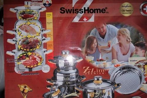 bateria de ollas swiss home suizas acero quirurgico 22 pcs