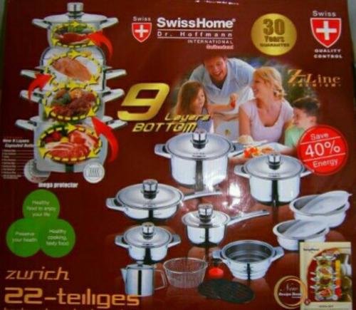 bateria de ollas swisshome suizas acero quirurgico 22 pcs