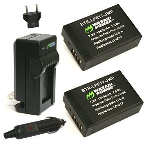 batería de wasabi (2-pack) y el cargador para canon lp-e17 y