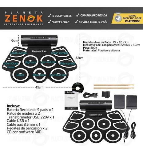 bateria electronica 9 pads flexible usb midi doble pedal