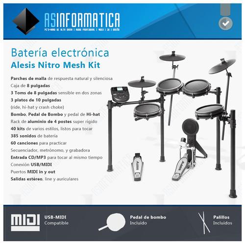 batería electrónica alesis nitro mesh kit en stock ya