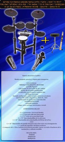 bateria electronica carlsbro 20 kit midi interface+ banqueta
