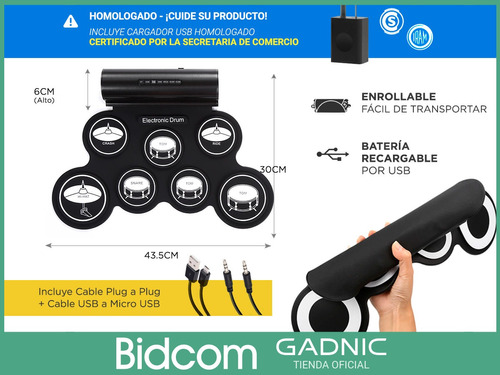 bateria electronica musical + palillos speakers 7 pads pedal
