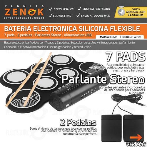 bateria electronica redoblante flexible doble pedal 7 pads