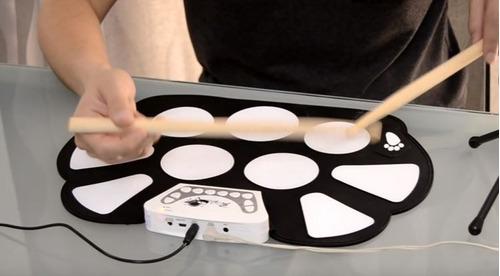 bateria eletronica musical portátil roll up com baqueta