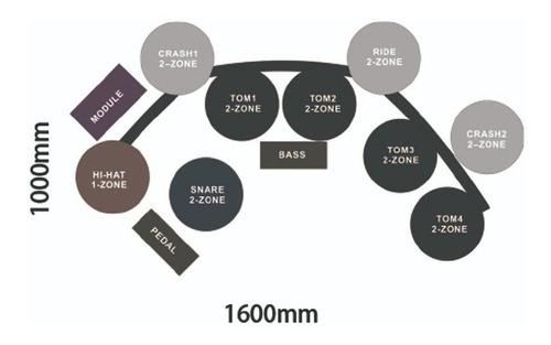 bateria eletronica x-pro ed-100 com 2 surdos e 3 pratos