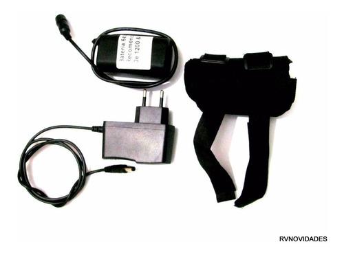 bateria emborrachada + capa + carregador p/ farol bike 8,4v