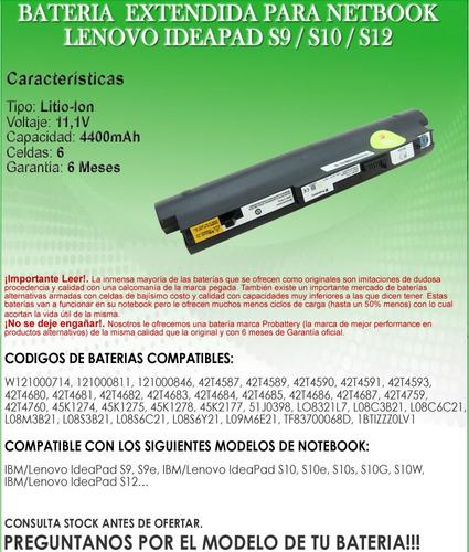 bateria extendida netbook lenovo ideapad s9 / s10 / s12