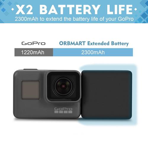 batería extendida orbmart para gopro 5, gopro 6, batería ext