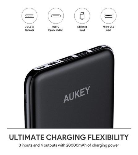 batería externa aukey pb-y14 20.000mah usb-c/lightning/micro