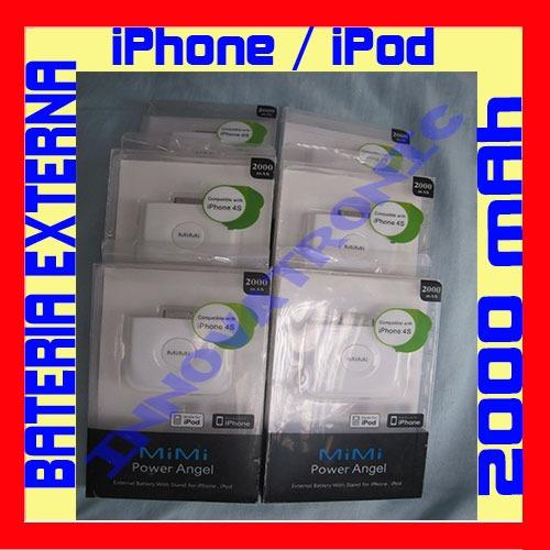 bateria externa fuente poder portatil 2000 mah iphone ipod