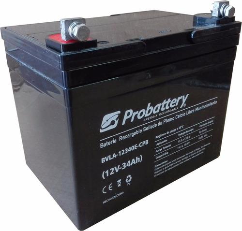 batería gel 12 v. 34 ah. probattery, vehìculo eléctrico
