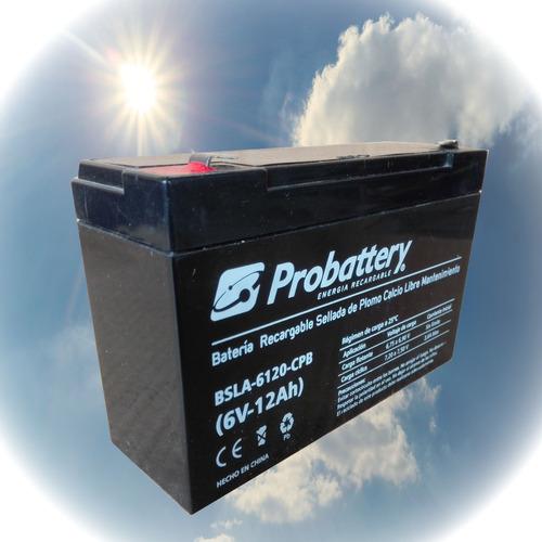 batería gel 6 v. 12 ah. probattery, ciclo profundo