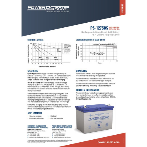 bateria gel recargable 12v 75ah eolica medicina powersonic