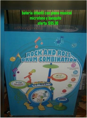 bateria infantil con piano musical microfono y banquito
