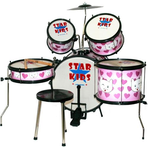 bateria infantil luen star kids cat rosa pink