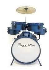 bateria infantil rmv rock kids 5 peças azul sparkle