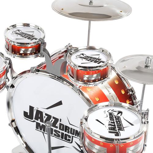 batería instrumento musical de juguete para niños, roja