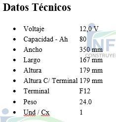 bateria kaise 12v 80ah