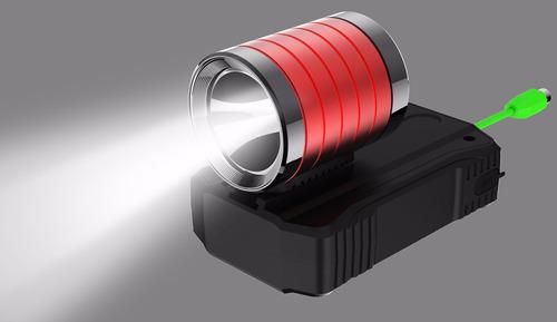 bateria lampara luz led bicicleta + bateria 6,000 mah roja