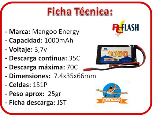 bateria lipo 3.7v 1000mah 35c helicópteros rc litio polímero