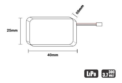 bateria lipo - 3.7v - 1s - 530mah - 30/60c - mini drone