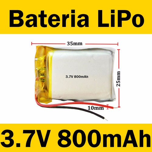 Bateria Lipo Litio Recargable 3 7v 800mah Mp3 Pic Arduino