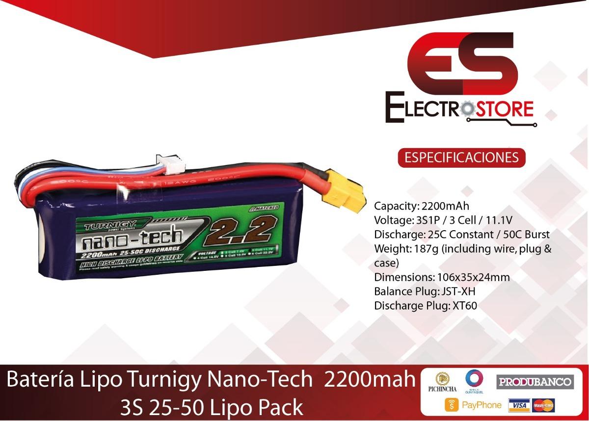 Bateria Lipo Turnigy Nano Tech 111v 2200mah 3s 25 50c Drone Us Lippo Tplug Cargando Zoom